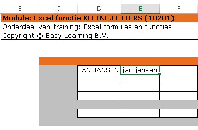 Excel kleine letters 01