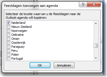 Feestdagen in Outlook agenda 04