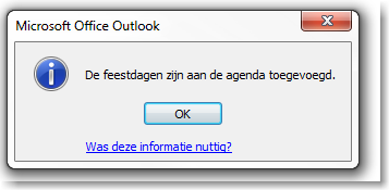 Feestdagen in Outlook agenda 05