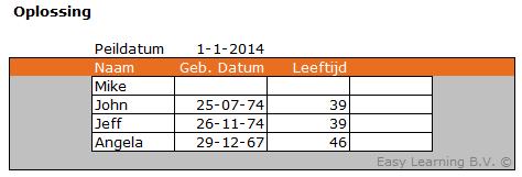 Formule leeftijd uitrekenen in Excel 02