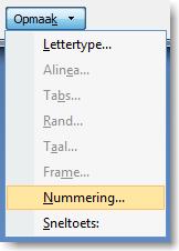 Hoofdstuknummering in Word 06