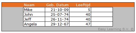 Leeftijd uitrekenen in Excel 02