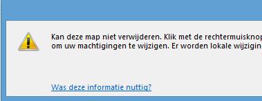 Map verwijderen Outlook melding
