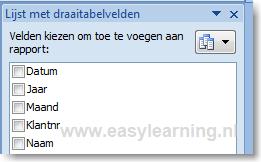 Onderdelen van een draaitabel in Excel 02