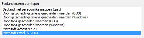 Outlook tip exporteren adressen naar Excel 06