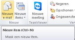 Sneltoets nieuwe mail