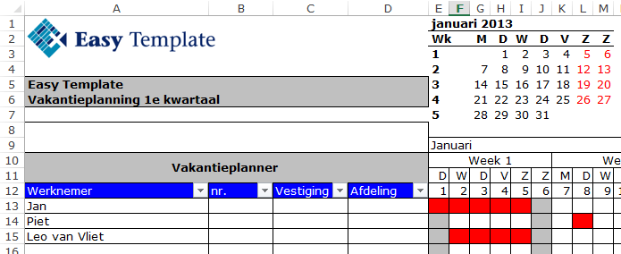 Titels blokkeren in Excel 01